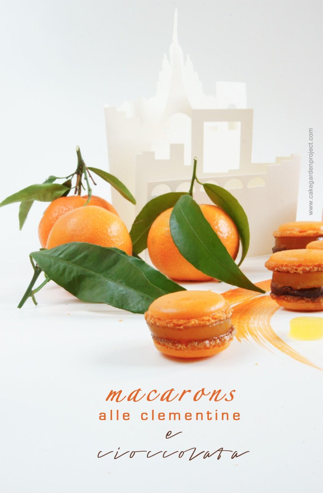 macaros con gelatina di clementine e cioccolata