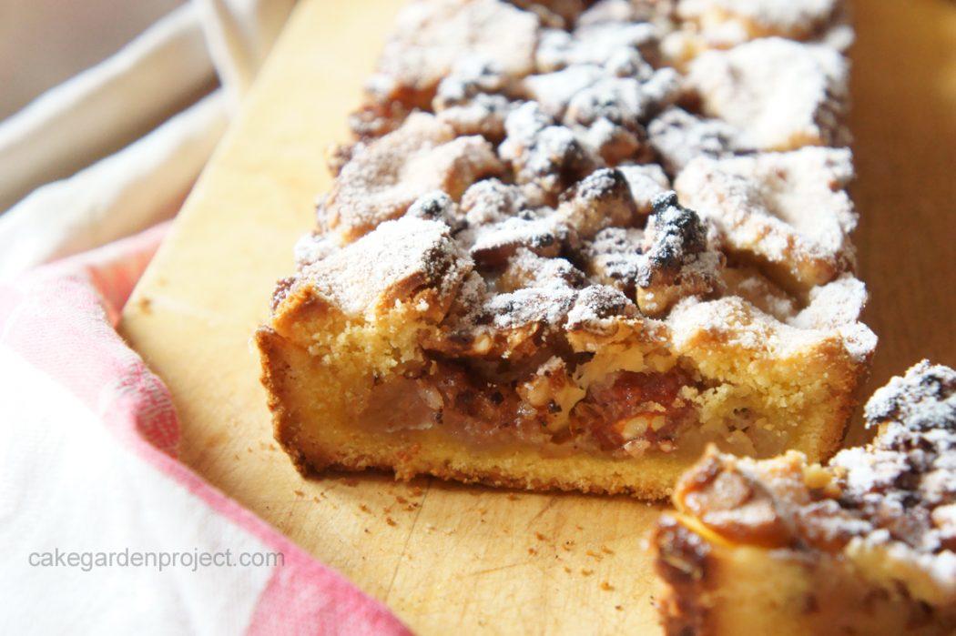 crostata di mele e noci con granella di cioccolata